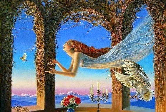 Geweldige momenten zoals een vrouw die door de lucht zweeft