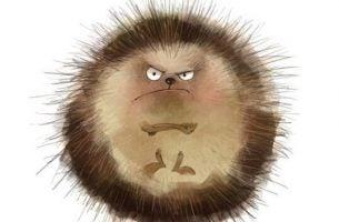 Egel die boos kijkt omdat hij gek wordt van al die veeleisende mensen