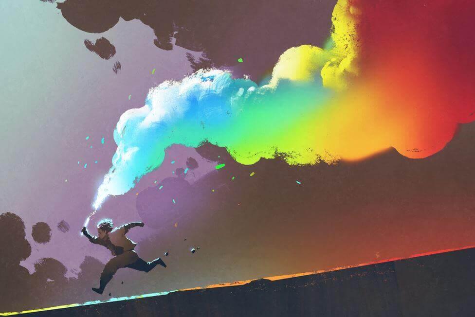 Man rent met kleuren