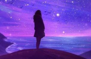 Meisje met paarse achtergrond