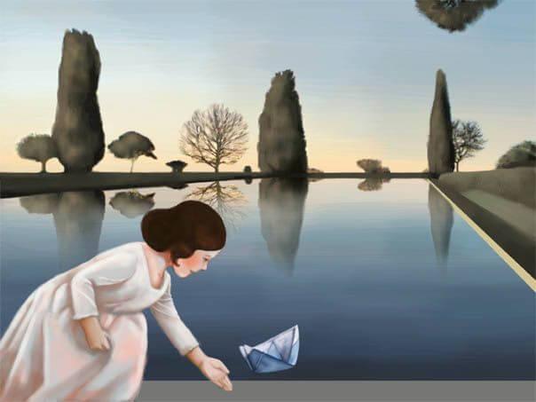 Meisje met papieren boot