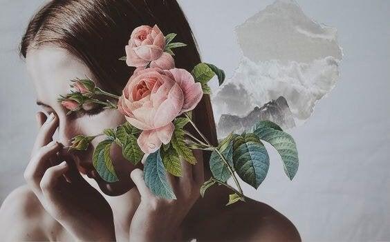 Meisje dat rozen voor haar gezicht houdt