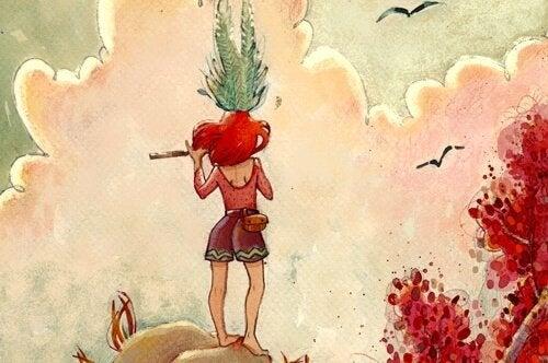 Meisje dat bovenop een berg een fluit bespeelt