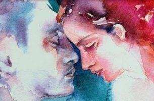 Over de liefde: schilderij van verliefd stel in waterverf