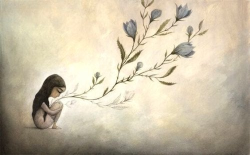 Bloemen groeien uit het hart van een meisje met verdriet