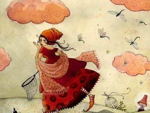Vrouw die vliegen probeert te vangen