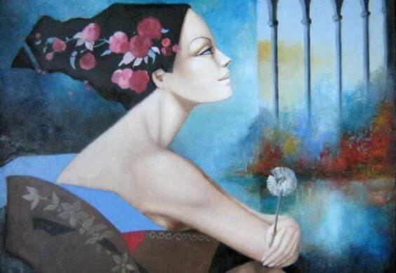 vrouw met paardenbloem