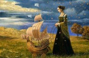 Vrouw met een klein ship voor zich, als een van die geweldige momenten