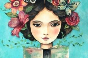 Vrouw met vlinders in haar haar leest opbeurende citaten voor alledaags verdriet