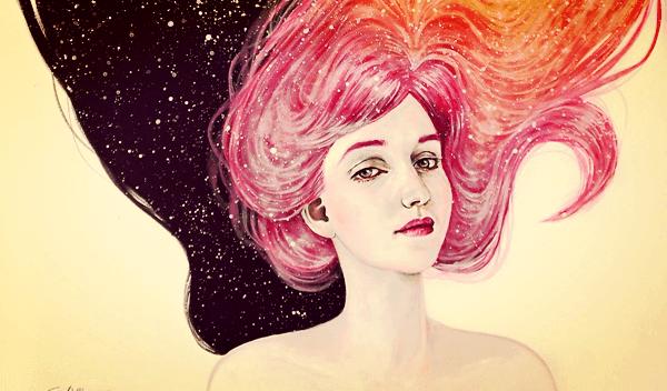 Rebelse tiener met roze haar