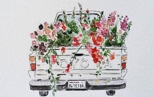 Wagen vol bloemen