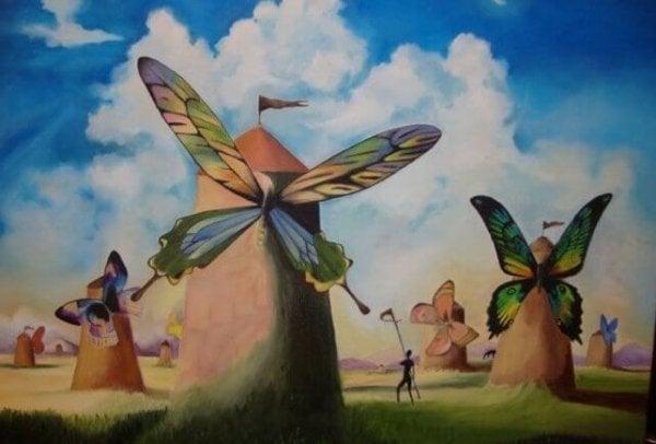 Windmolens met vlindervleugels