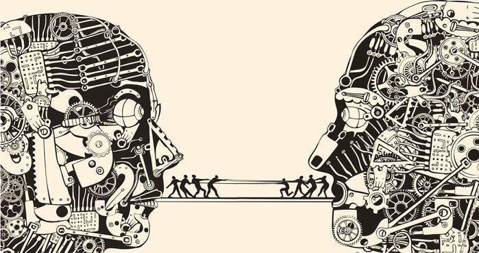 Mensen touwtrekken tussen twee hoofden