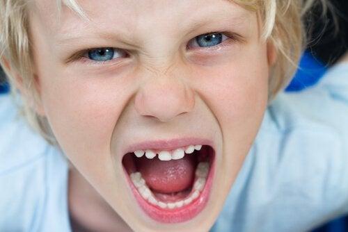 Kind met kleine keizer-syndroom is aan het schreeuwen