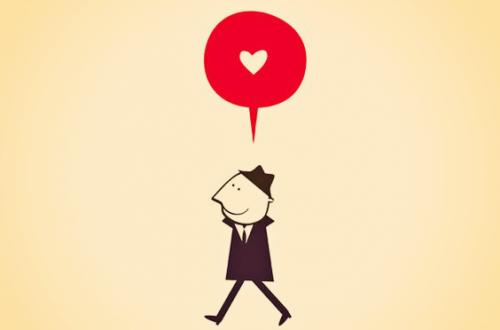 Man die rondloopt met een hartje boven zijn hoofd omdat hij niet in een relatiecrisis verkeert