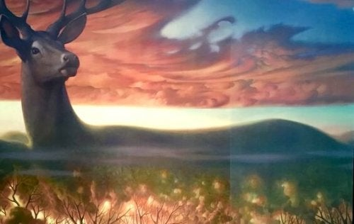 Hert in een mooi landschap, als symbool voor onze emotionele ruimtes