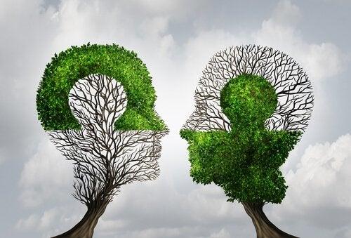 Twee bomen in de vorm van hoofden passen als puzzelstukjes in elkaar
