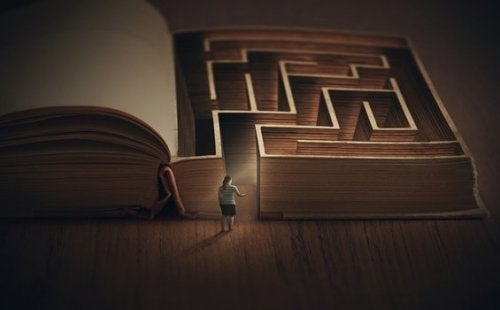 Vrouw bij labyrint in boek