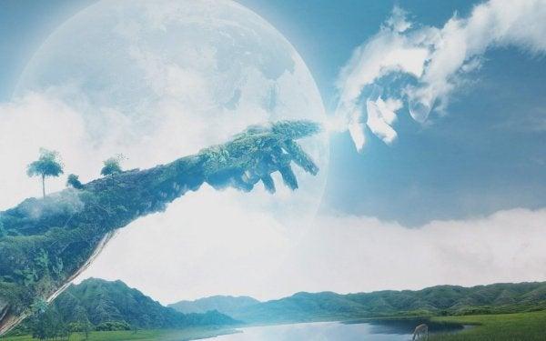 Aarde en wolken raken elkaar aan in de vorm van handen: religie