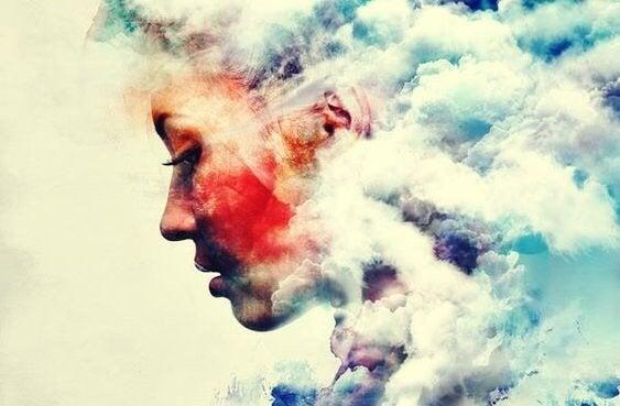 Meisje in wolken