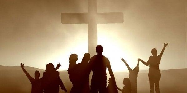 Mensen die een kruis aanbidden, want dat hoort bij religies als het christendom
