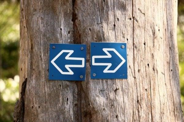 Twee pijltjes links en rechts illustreren hemineglect