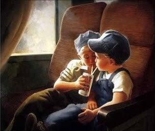 Kinderen in trein