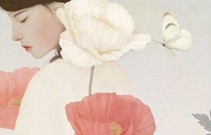 Meisje met bloemen en vlinder