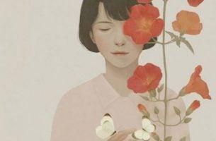 Vrouw met rode bloemen