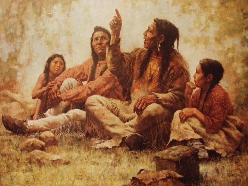 Cherokee Indianen die een verhaal vertellen