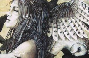 Vrouw met een uil