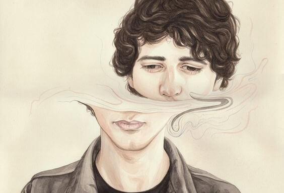Vervormd gezicht als voorbeeld van dissociatie