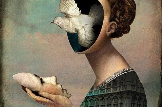 Vrouw wiens gezicht verwijderd is van haar hoofd, als voorbeeld van dissociatie