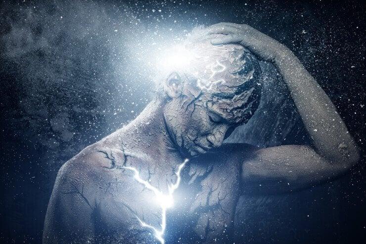 Man die nadenkt over zijn bewustzijn, als voorbeeld van dissociatie