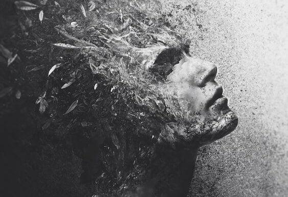 Een met veren bedekt gezicht van iemand die ongevoelig is voor de pijn van anderen