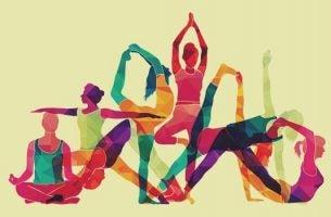 Kunstwerk van mensen die yoga doen