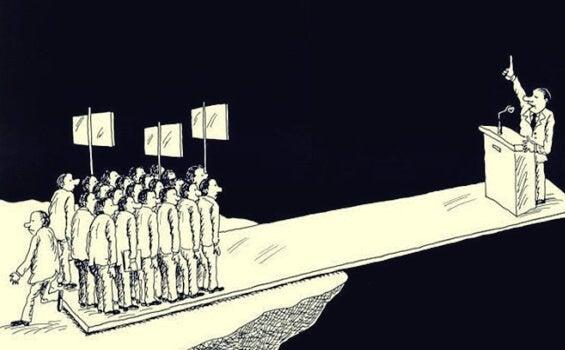 Iemand valt of staat door steun van aanhangers