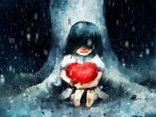 In jezelf geloven: meisje koestert haar hart