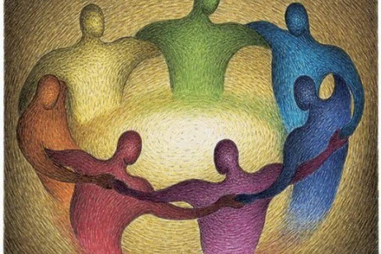 Kring van mensen die elkaar omhelzen om te verwijzen naar Fritz Perls