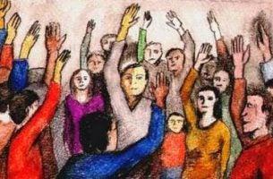 Mensen met hun handen omhoog