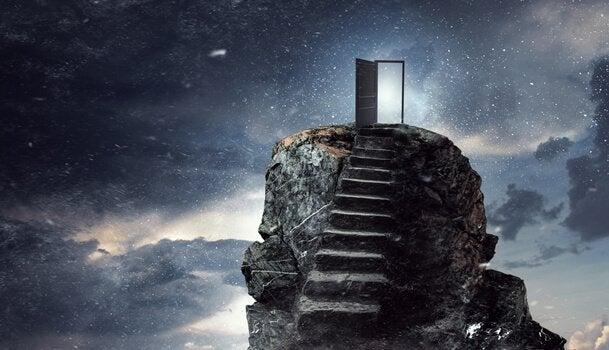 Trappen die naar de deur van het universum leiden