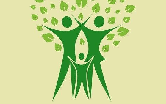 Drie mensen die een stamboom representeren