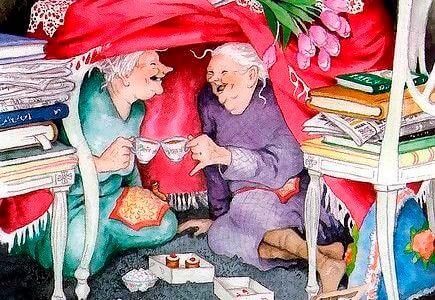 Vrienden delen thee en cake
