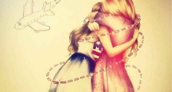 Vrienden die knuffelen