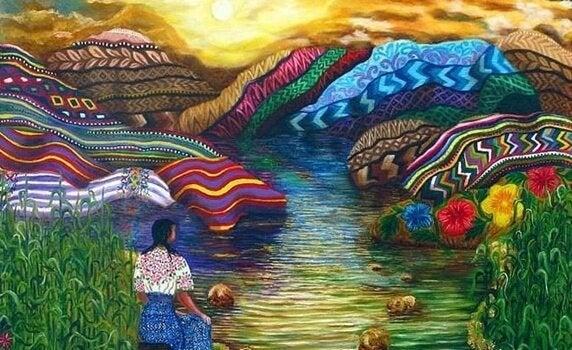 Tolteekse vrouw in kleurrijk landschap