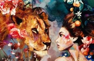 Vrouw trotseert leeuw: in onszelf geloven