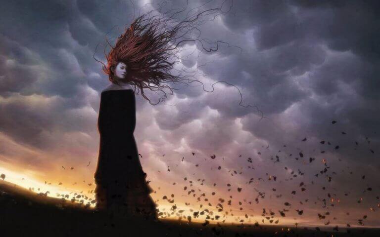 Vrouw onder wolken
