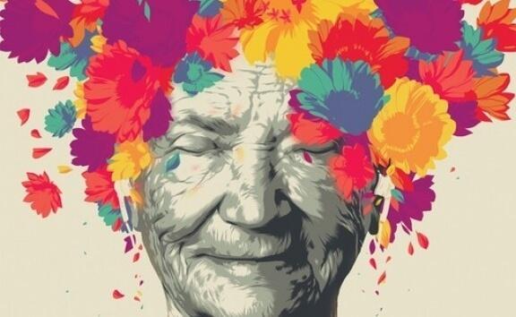 Kunstwerk van een vrouw in kleur
