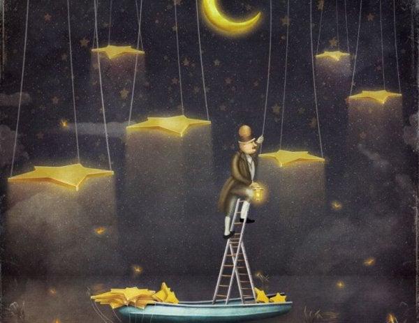 Man die naar de sterren klimt