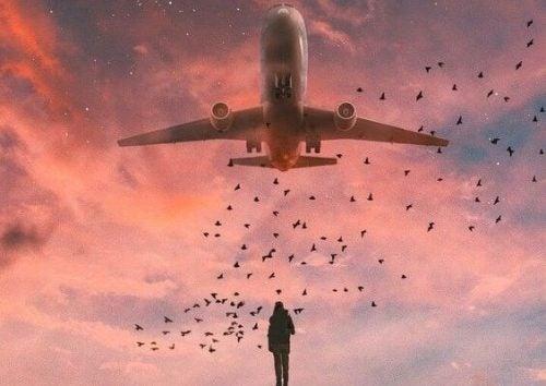 Man die naar een vliegtuig kijkt